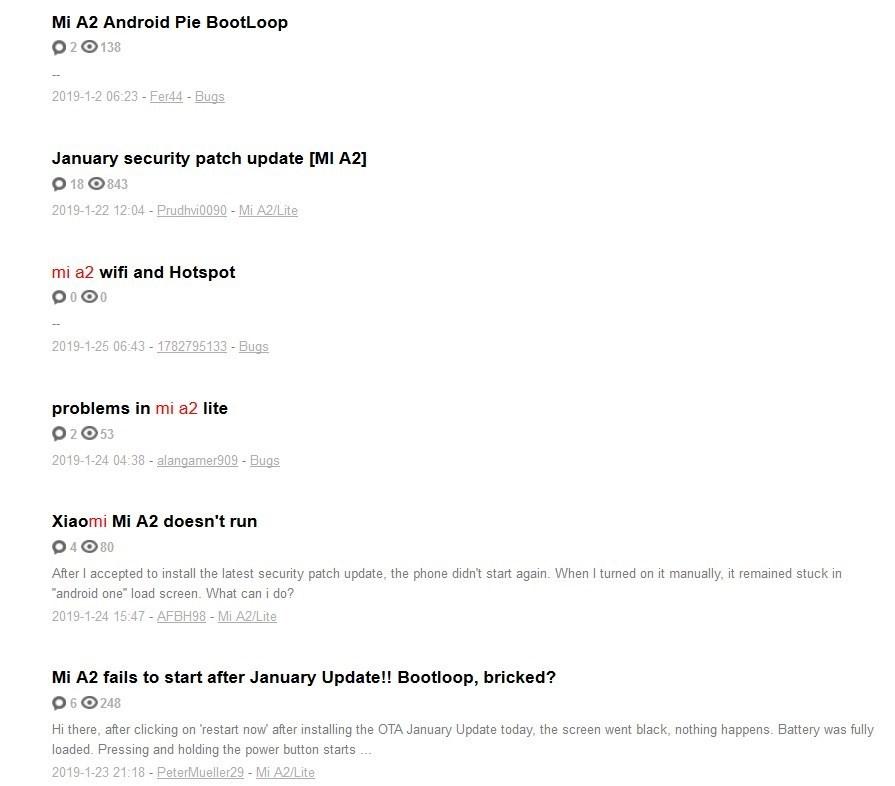 bootlops Xiaomi Mi A2 reinicio ciclico constante bucle noticias xiaomi adictos