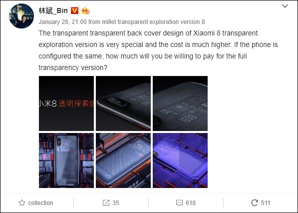 Lin Bin pregunta si los fans quieren edición eplorer edition del xiaomi mi 9 xiaomi adictos