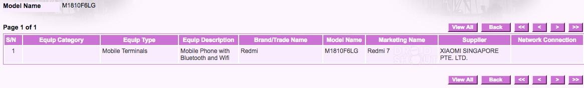 IMDA certifica un nuevo Redmi 7 en singapur