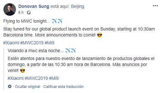 donovan sung anuncia el xiaomi mi 9 global este 24 de febrero en MWC 2019 noticias xiaomi adictos xiaommiadictos