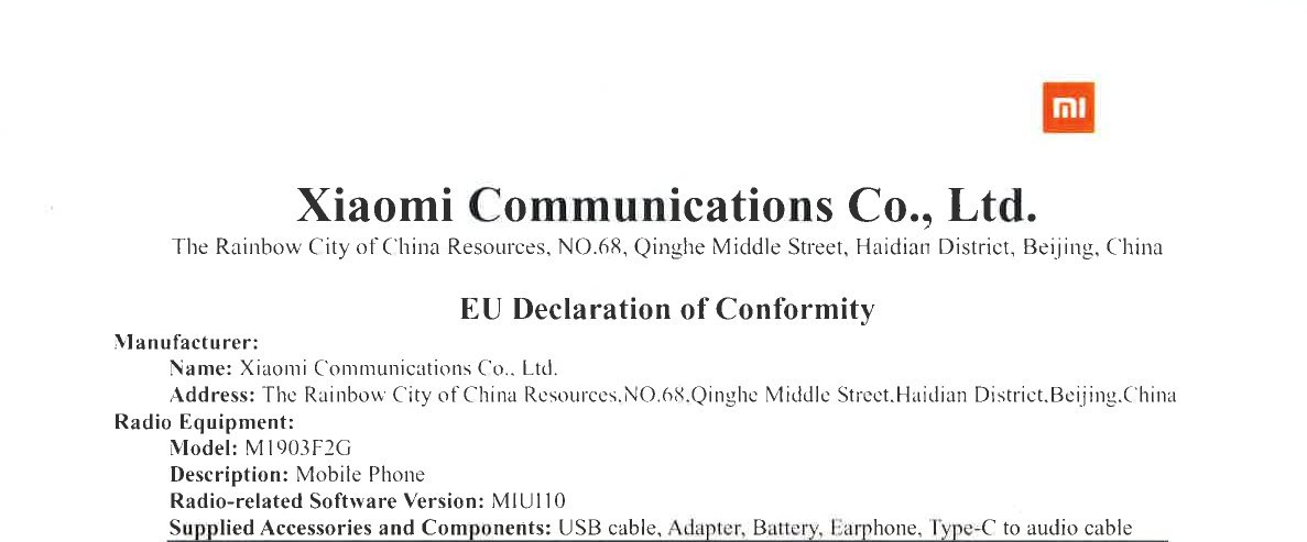 xiaomi mi 9 se lite obtiene certificación de conformidad de la union europea