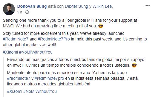 Donovan Sung confirma llegada Redmi Note 7 y 7 Pro GLOBAL noticias xiaomi adictos xiaomiadictos