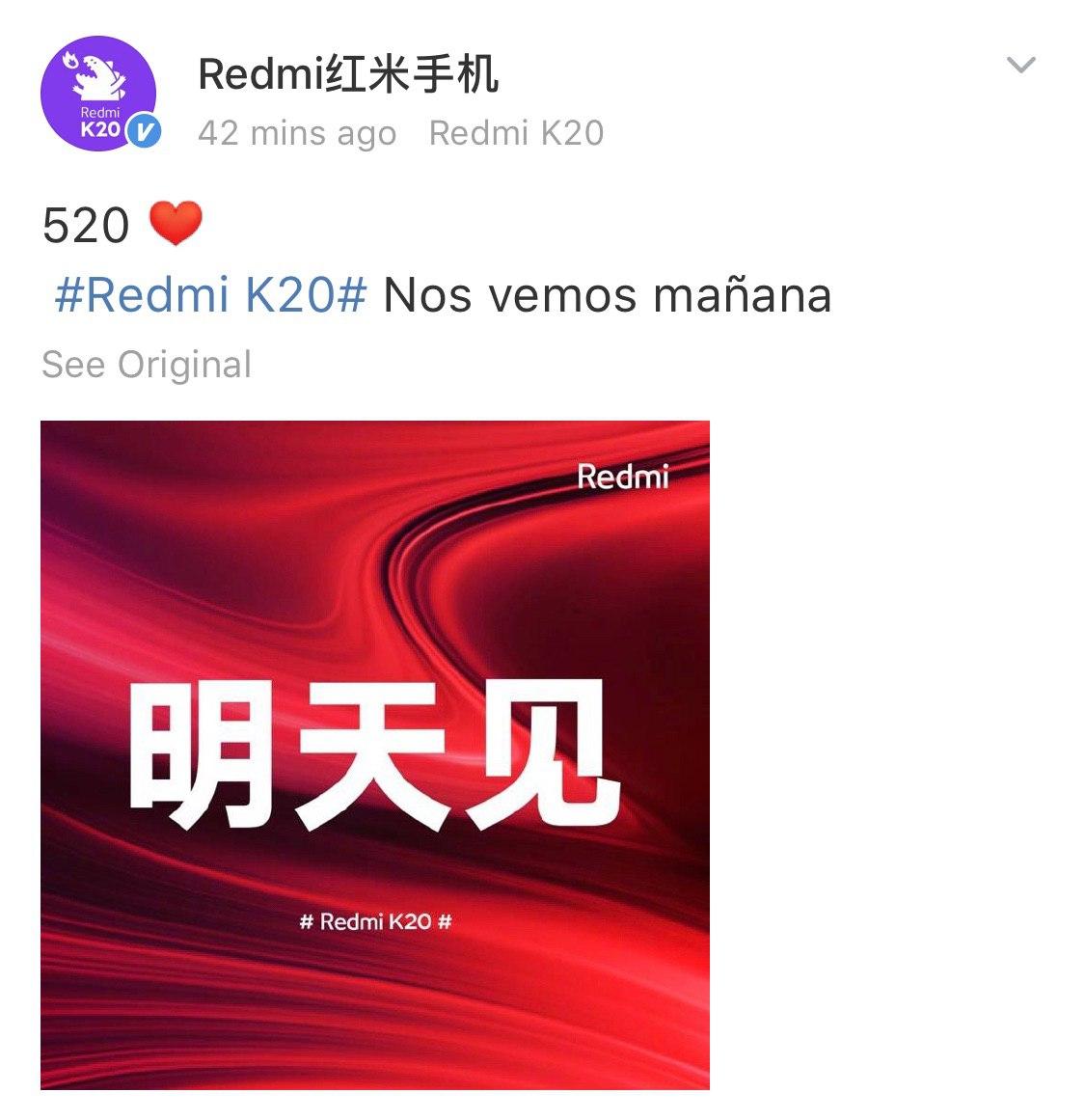Publicación realizada en Weibo por Redmi. Redmi K20. Noticias Xiaomi Adictos
