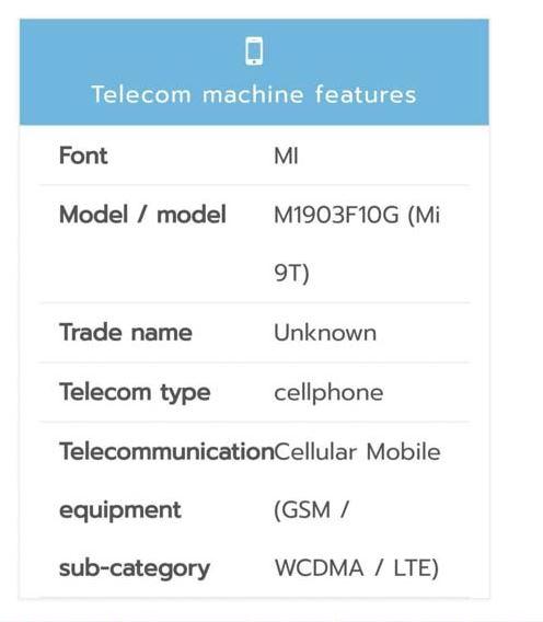 Certificación en Tailandia del Xiaomi Mi 9T.