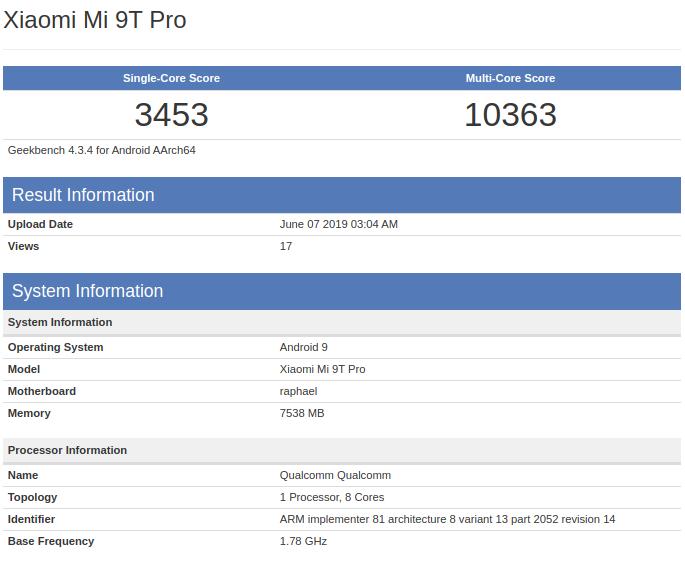 El nuevo Xiaomi Mi 9T Pro aparece listado en GeekBench mostrando sus características. Noticias Xiaomi Adictos