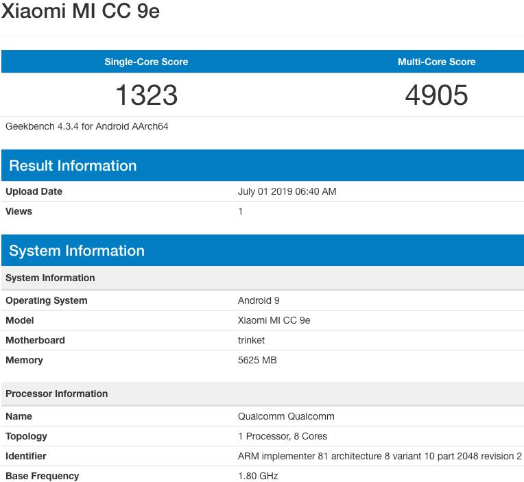Filtración del Xiaomi CC9e en GeekBench. Noticias Xiaomi Adictos