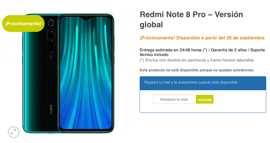Redmi Note 8 Pro Global aparece listado en una Web español. Noticias Xiaomi Adictos
