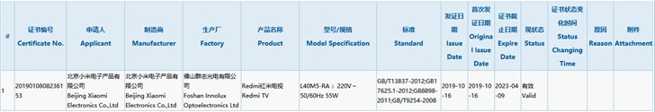 A new 40-inch Redmi TV is listed in the 3C certification unit of China