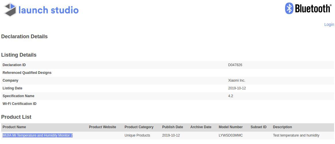 Certificación Bluetooth del Xiaomi Mi Temperature and Humidity Monitor 2. Noticias Xiaomi Adictos