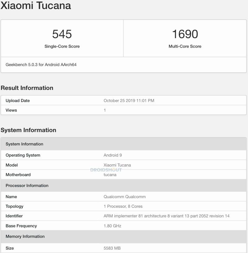 Xiaomi Tucana listado en la plataforma GeekBench con cámara de 108MP. Noticias Xiaomi Adictos