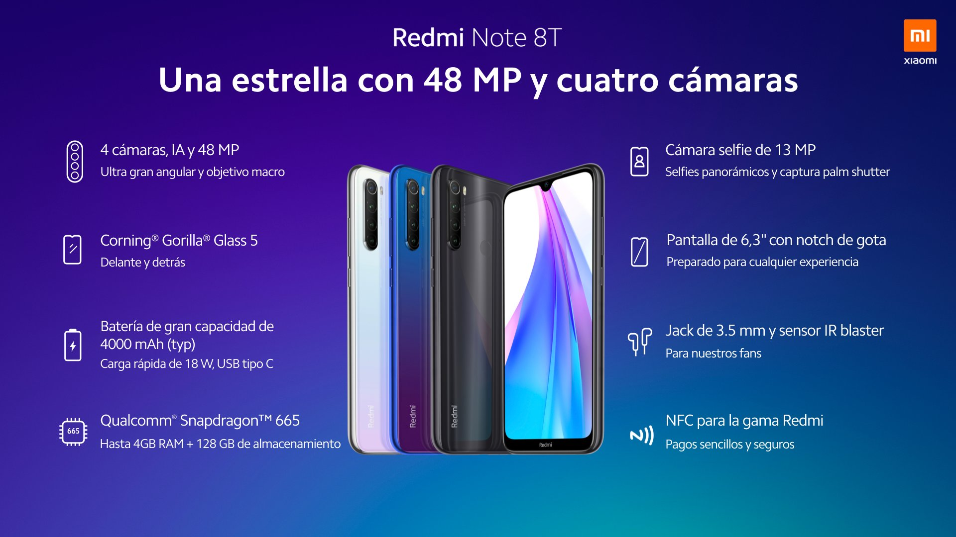 Nuevo Redmi Note 8T, características, especificaciones y precio. Noticias Xiaomi Adictos