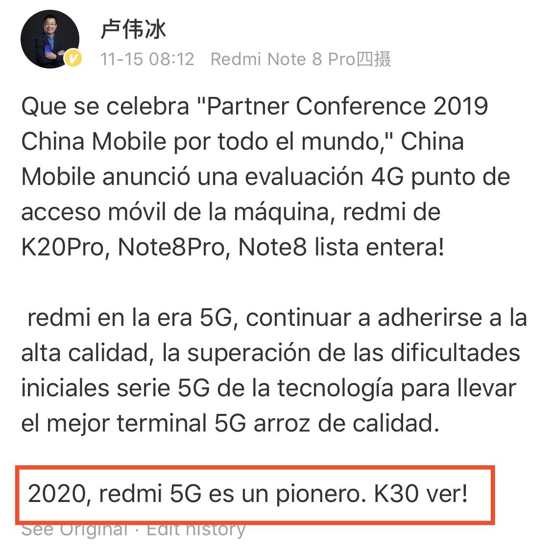 Lu Weibing lo confirma, no habrá Redmi K30 hasta principios de 2020. Noticias Xiaomi Adictos