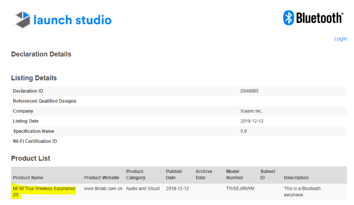 Certificación Bluetooth de los Xiaomi Mi True Wireless Earphones 2S.
