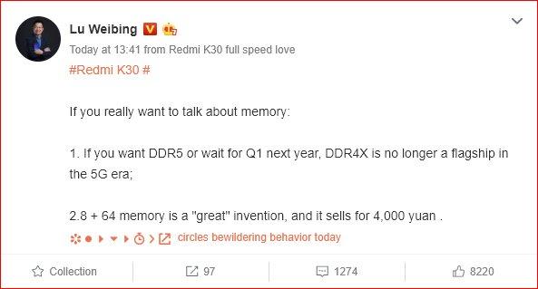 Lu Weibing confirma que las memorias LPDDR5 llegarán a los Xiaomi en 2020. Noticias Xiaomi Adictos