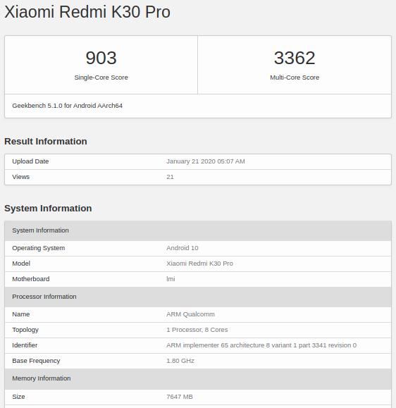 Redmi K30 Pro aparece en Geekbench junto a un Snapdragon 865. Noticias Xiaomi Adictos