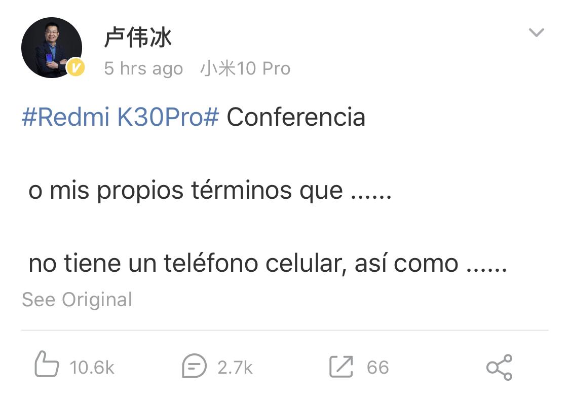 El Redmi K30 Pro no llegará solo, su CEO confirma nuevos productos inteligentes. Noticias Xiaomi Adictos