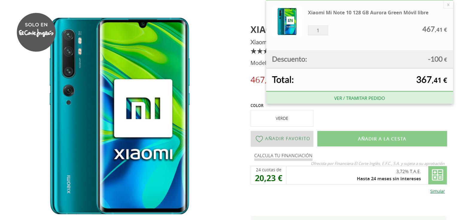 Consigue el Xiaomi Mi Note 10 por tan solo 367 euros gracias a esta oferta de El Corte Inglés. Noticias Xiaomi Adictos