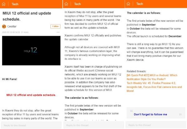 Se filtra el calendario de lanzamiento de MIUI 12: su llegada podría estar más cerca de lo esperado. Noticias Xiaomi Adictos