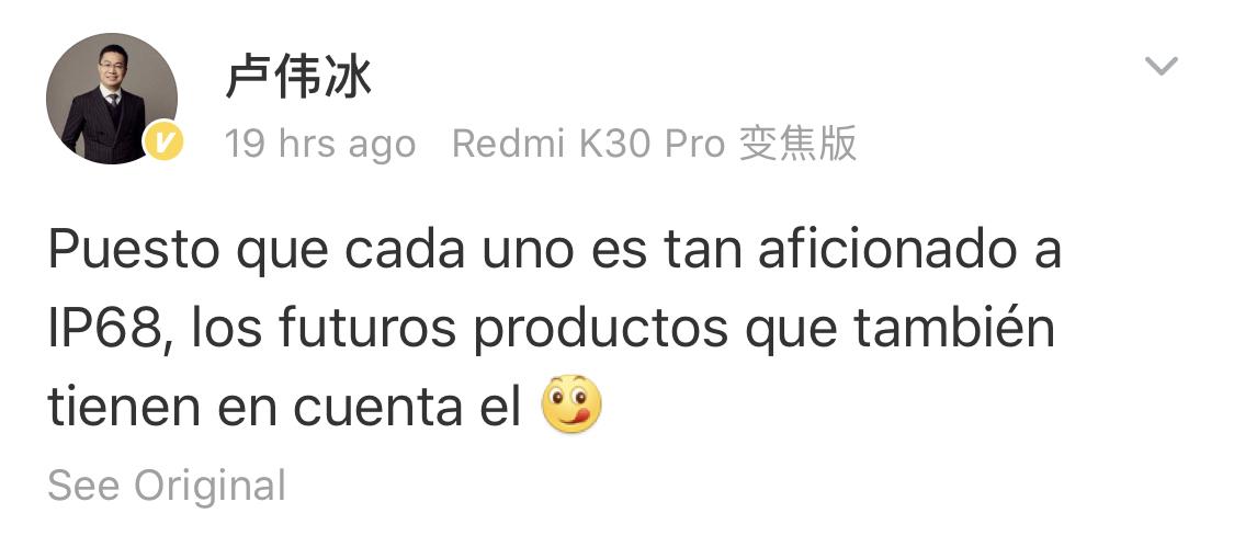 El CEO de Redmi asegura que la certificación IP68 es totalmente innecesaria. Noticias Xiaomi Adictos