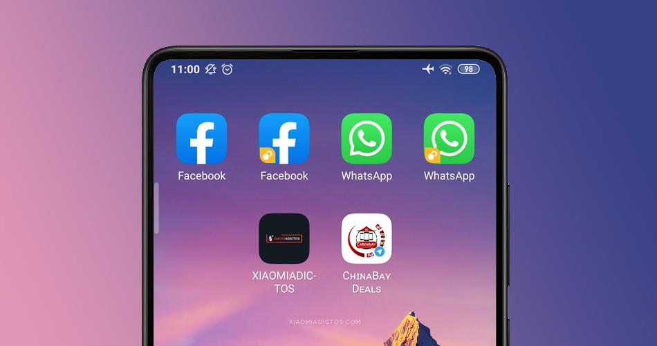 clonar app Xiaomi en MIUI, whatsapp, facebook, etc. Usar dos cuentas