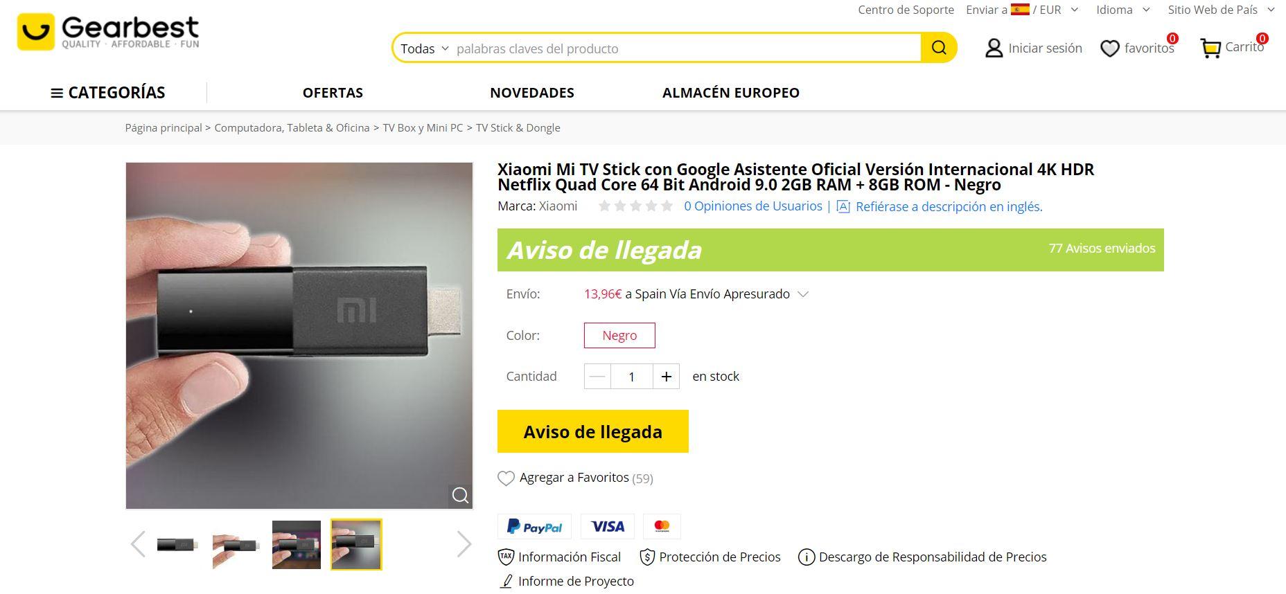 El Xiaomi Mi TV Stick aparece en una reconocida tienda online mostrando sus características. Noticias Xiaomi Adictos