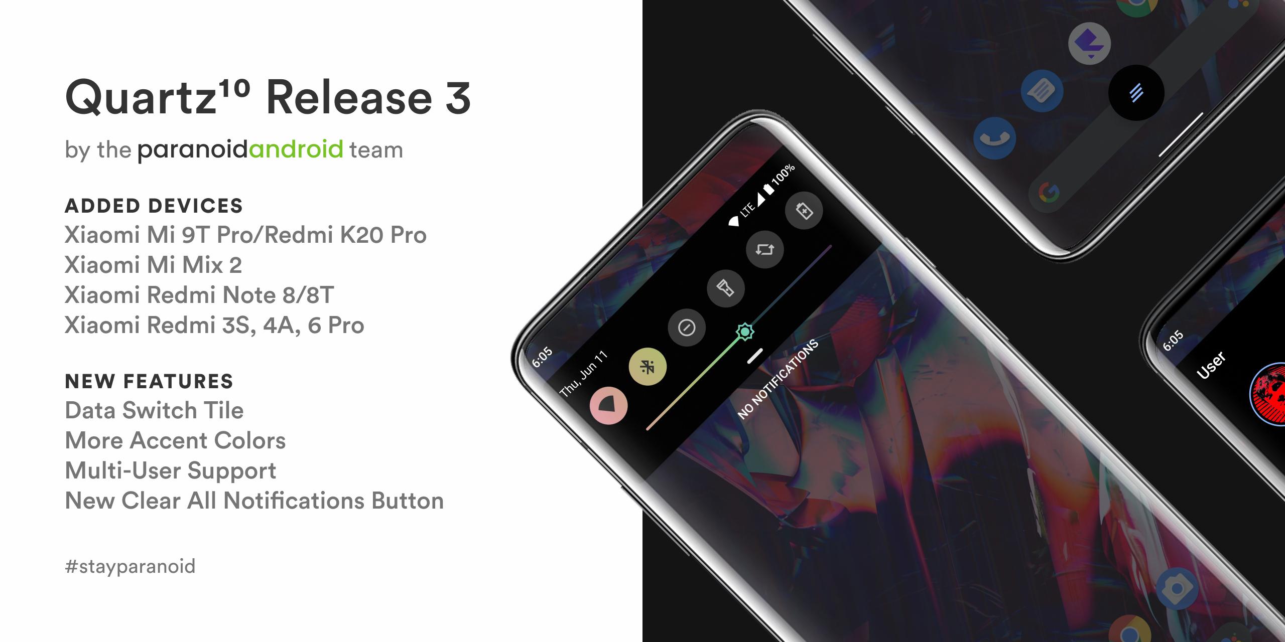 Paranoid Android Quartz 3 llega a más dispositivos Xiaomi: Redmi Note 8 y Mi 9T Pro entre otros. Noticias Xiaomi Adictos