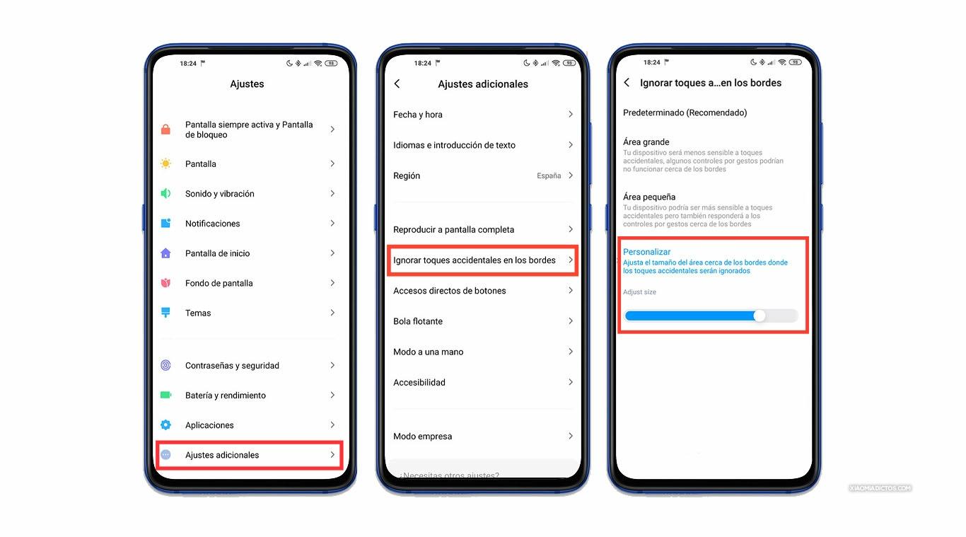 Cómo evitar los toques accidentales en tu Xiaomi con pantalla curva (Mi 10, Mi Note 10...). Noticias Xiaomi Adictos