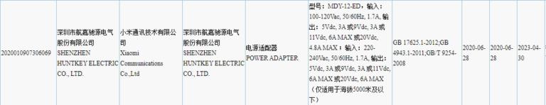Xiaomi certifica su cargador de 120W confirmando que su carga rápida de 100W ya está lista