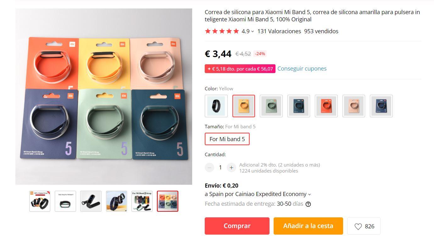 comprar correa original Xiaomi Mi Band 5 oficial. Noticias Xiaomi Adictos