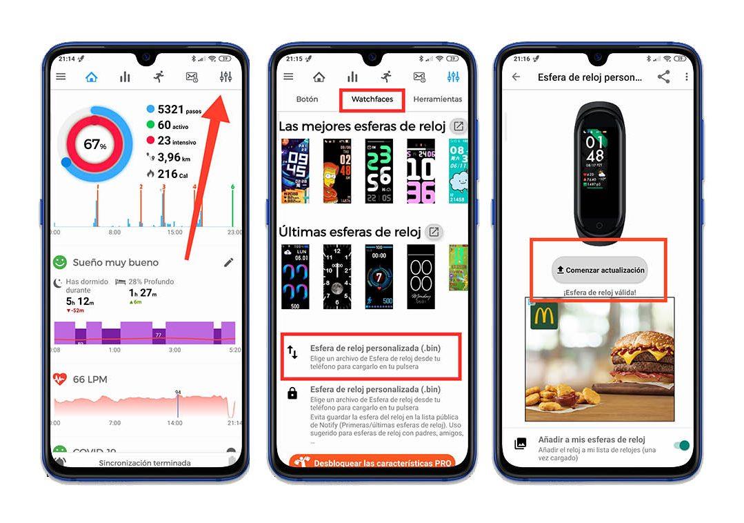 como instalar watchfaces o fondos bin en la Xiaomi Mi Band 5. Noticias Xiaomi Adictos