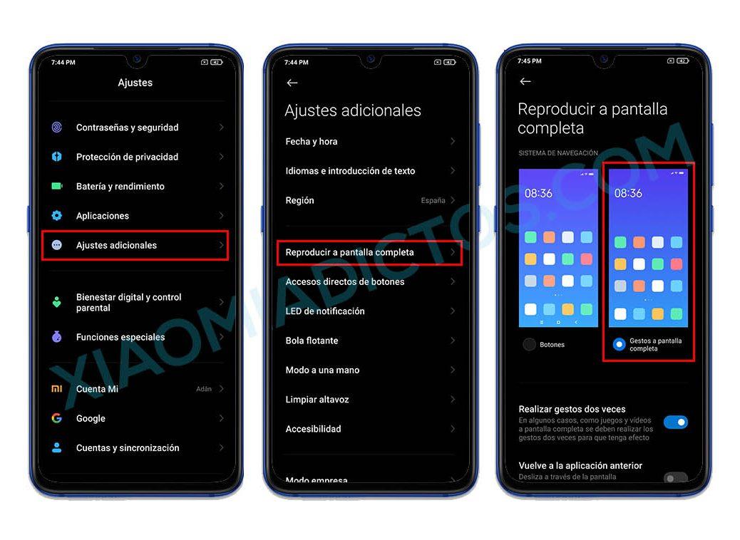 Activar gestos MIUI 12 en un Xiaomi, Redmi o POCO con Android 10. Noticias Xiaomi Adictos