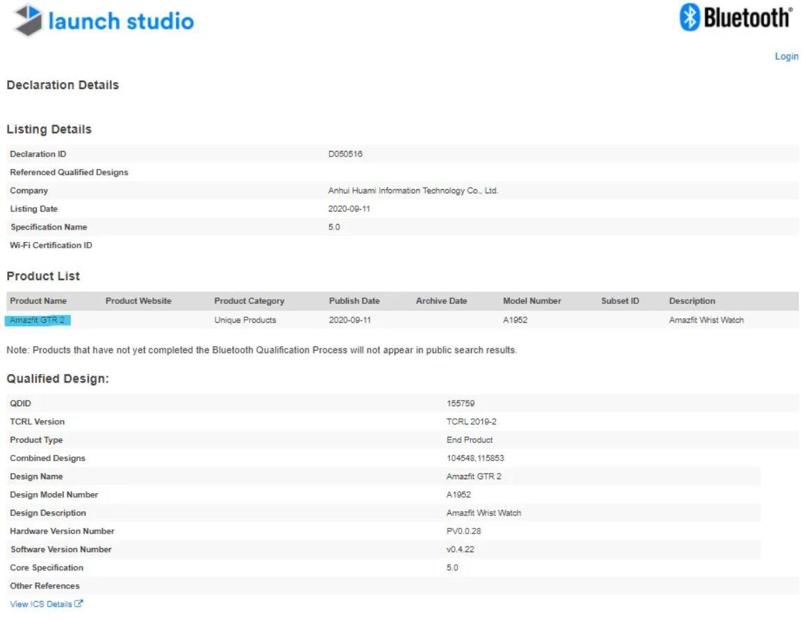El nuevo Amazfit GTR 2 recibe su certificación Bluetooth: esto es todo lo que sabemos. Noticias Xiaomi Adictos