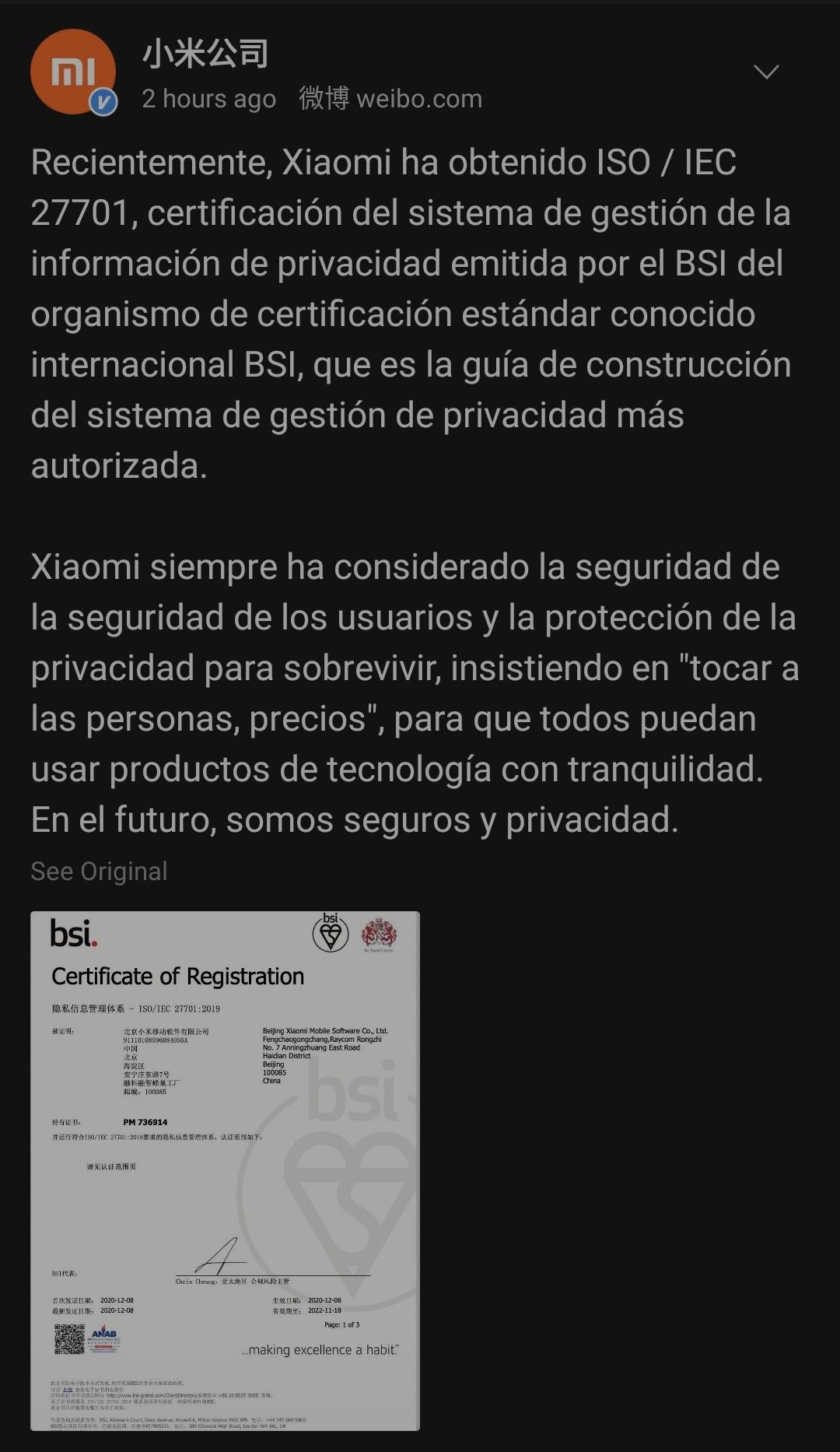 Xiaomi obtiene la mayor certificación de gestión de información y privacidad que se puede otorgar. Noticias Xiaomi Adictos