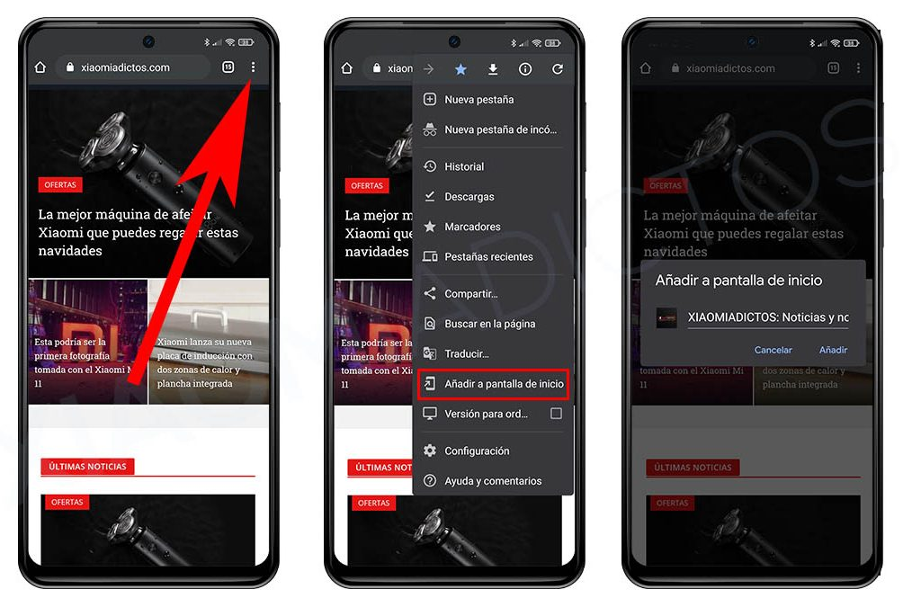 crear acceso directo pagina web pantalla inicio android Xiaomi. Noticias Xiaomi Adictos