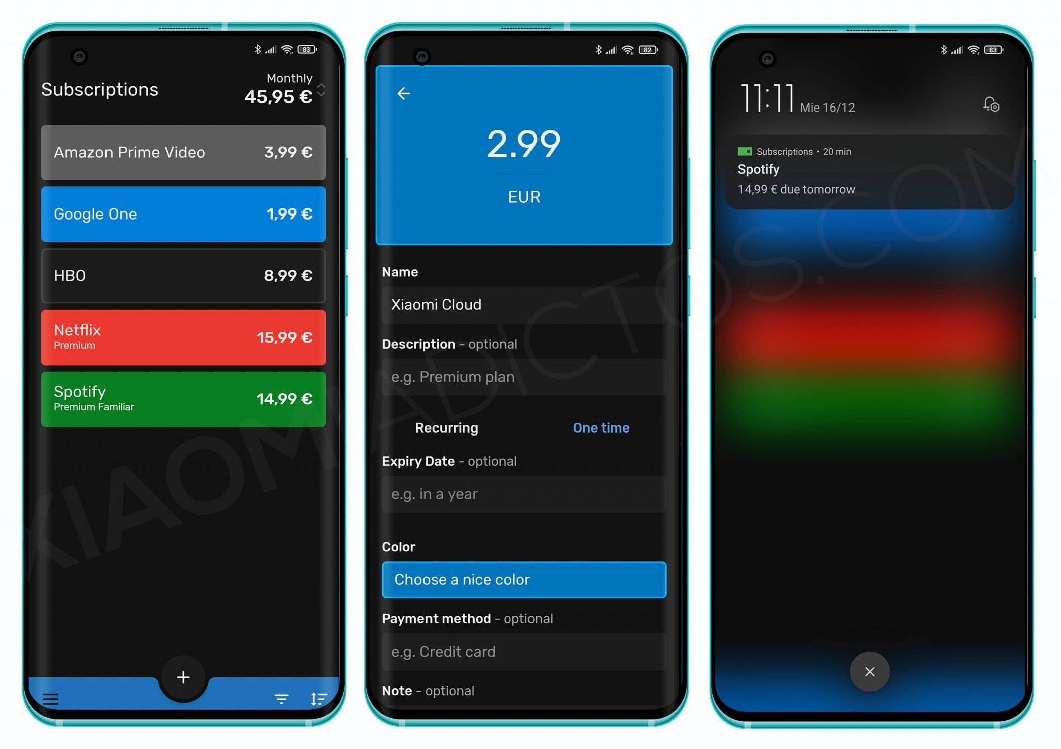 Subscriptions, la mejor app para tu Xiaomi con la que gestionar tus suscripciones a Netflix, Spotify y más. Noticias Xiaomi Adictos