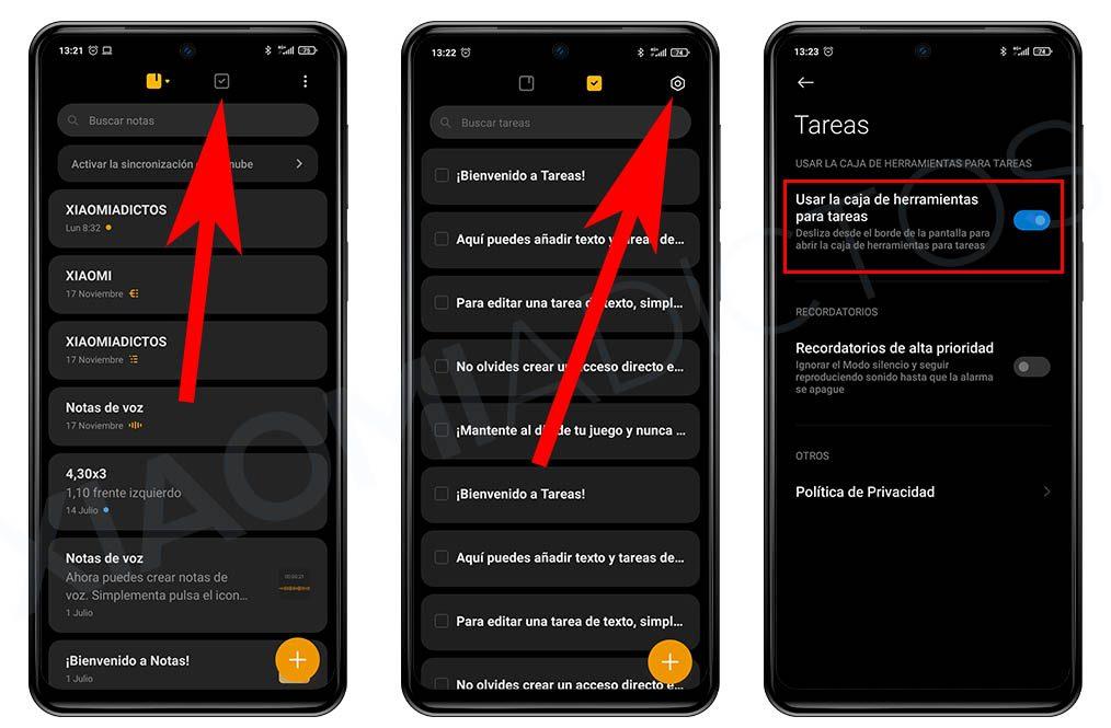 Accede a las listas de tareas de tu Xiaomi desde cualquier pantalla con solo deslizar el dedo. Noticias Xiaomi Adictos