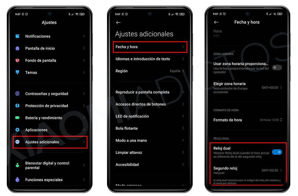 mostrar dos relojes pantalla xiaomi MIUI reloj Dual. Noticias Xiaomi Adictos