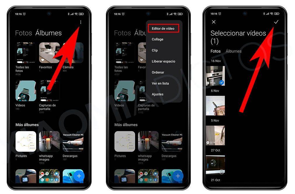 Como unir o combinar vídeos con el propio editor de Xiaomi. noticias Xiaomi Adictos