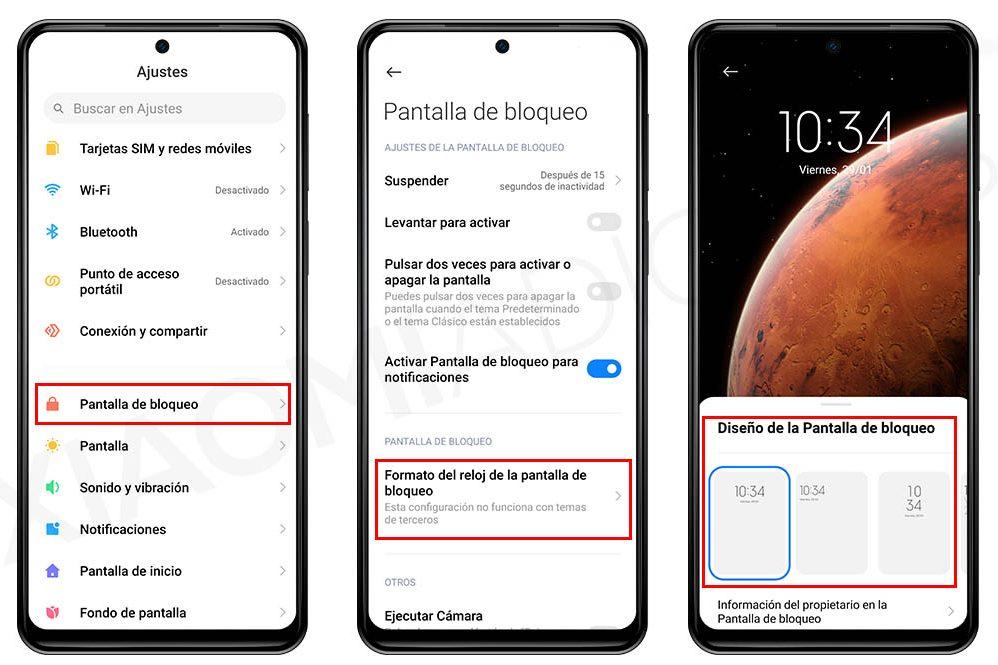 Cómo cambiar el diseño del reloj de la pantalla de bloqueo de tu Xiaomi. Noticias Xiaomi Adictos