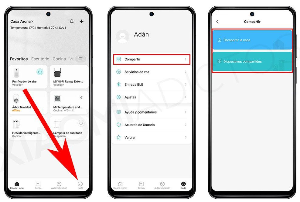 compartir xiaomi home dispositivos otra cuenta o persona. noticias Xiaomi Adictos