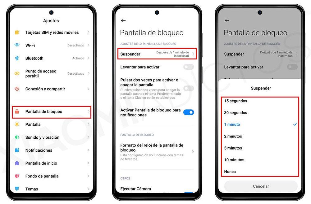 Cómo cambiar el tiempo de bloqueo de pantalla de tu Xiaomi. Noticias Xiaomi Adictos