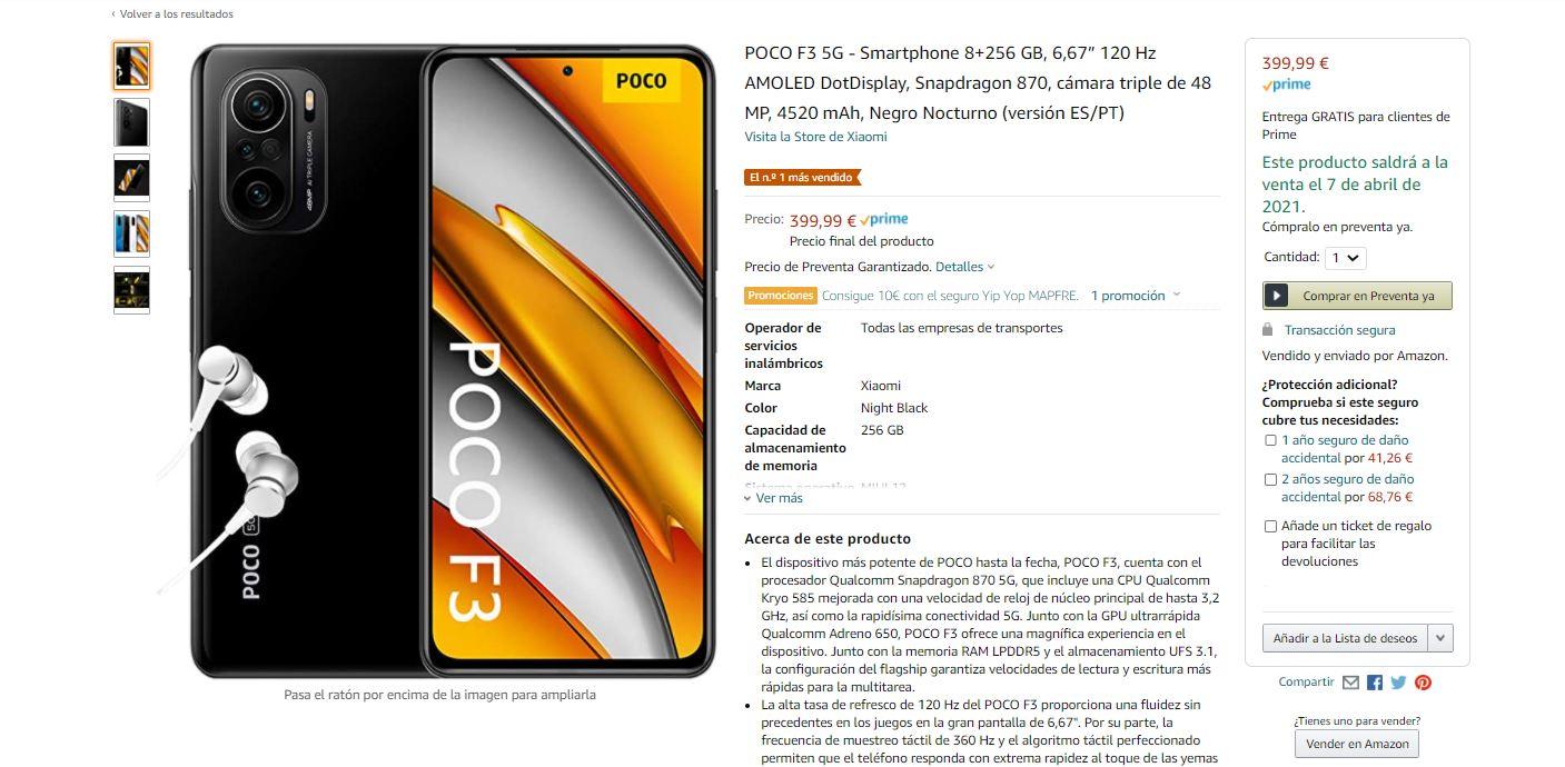 El POCO F3 ya está disponible en Amazon y se ha convertido en el móvil más vendido. Noticias Xiaomi Adictos