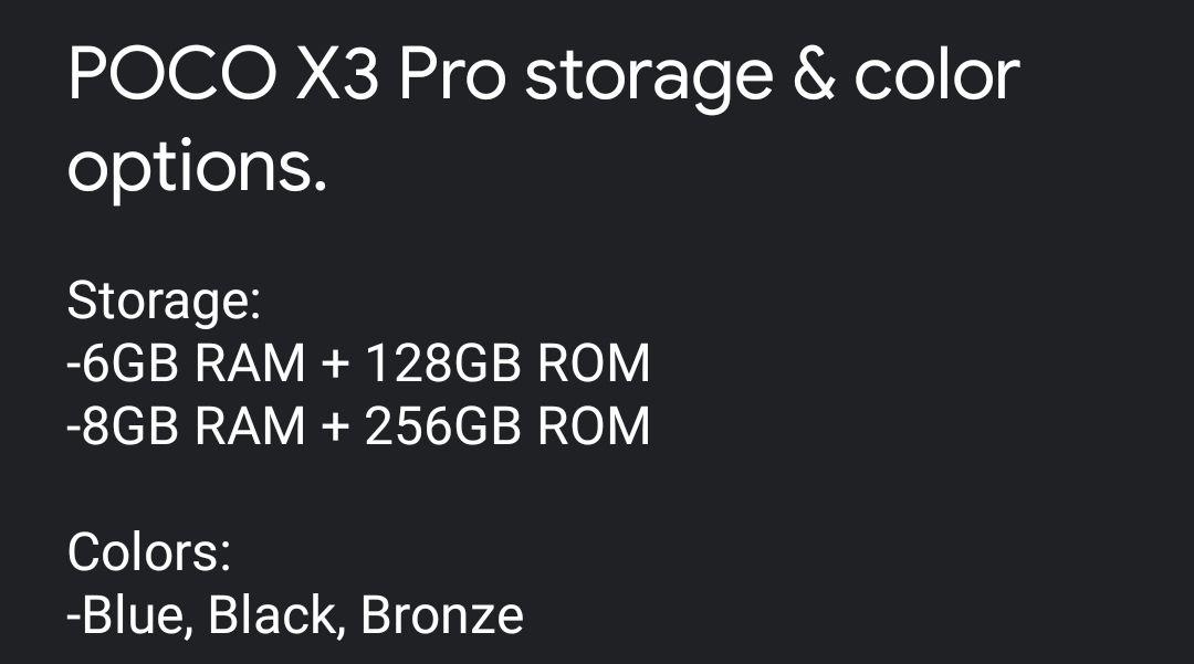 El POCO X3 Pro llegará en estos colores y variantes de almacenamiento. Noticias Xiaomi Adictos
