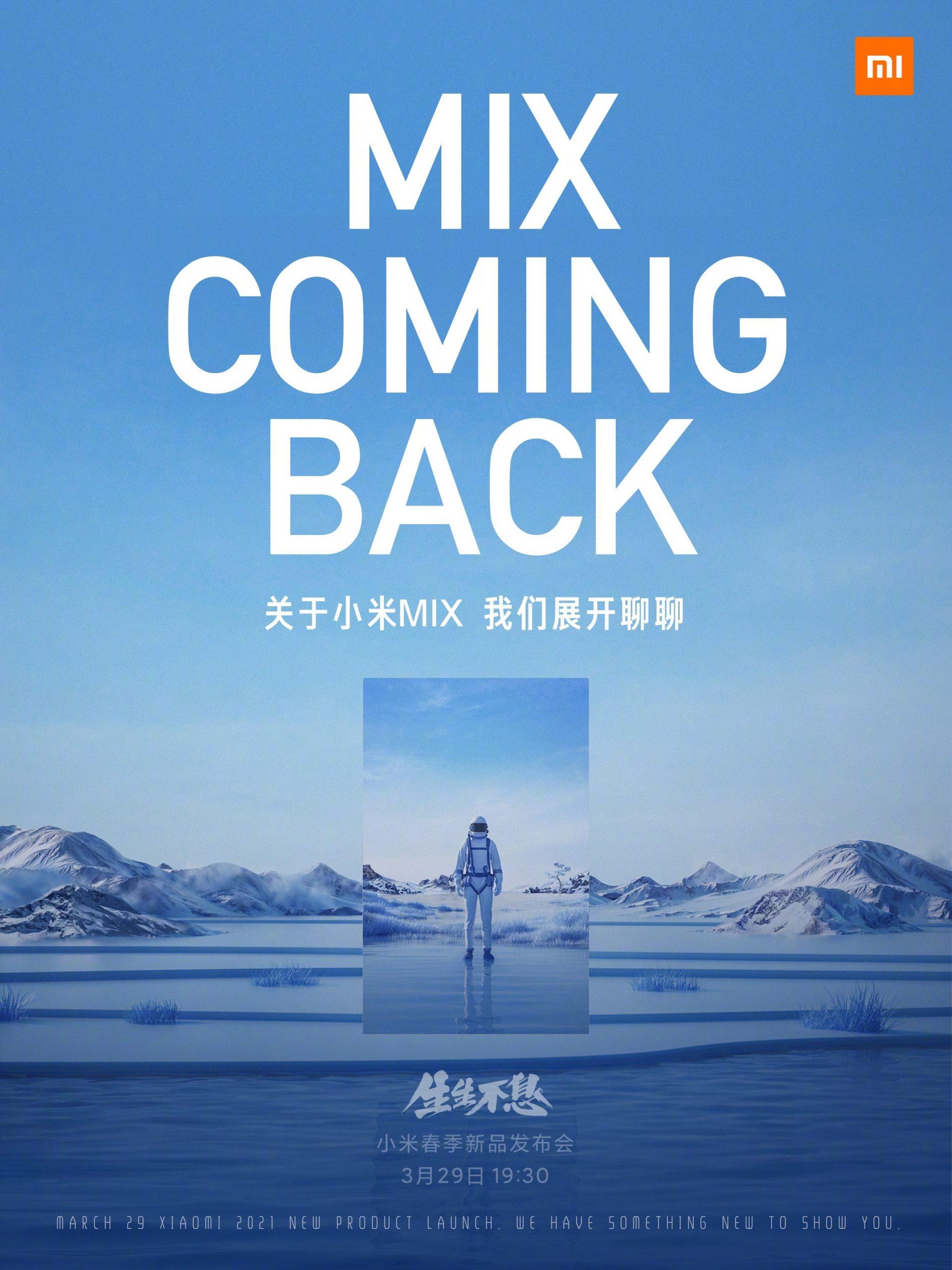 Xiaomi confirma el regreso de la Serie Mi Mix este 29 de marzo. Noticias Xiaomi A