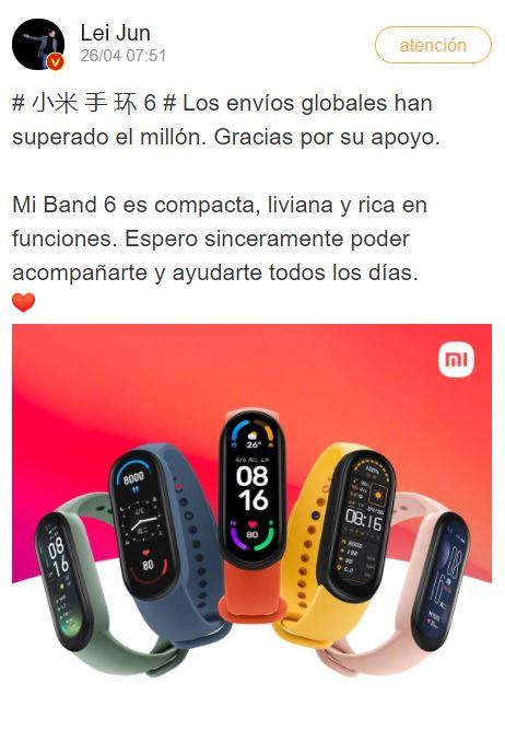 La Xiaomi Mi Band 6 ya es otro caso de éxito con más de un millón de unidades vendidas. Noticias Xiaomi Adictos