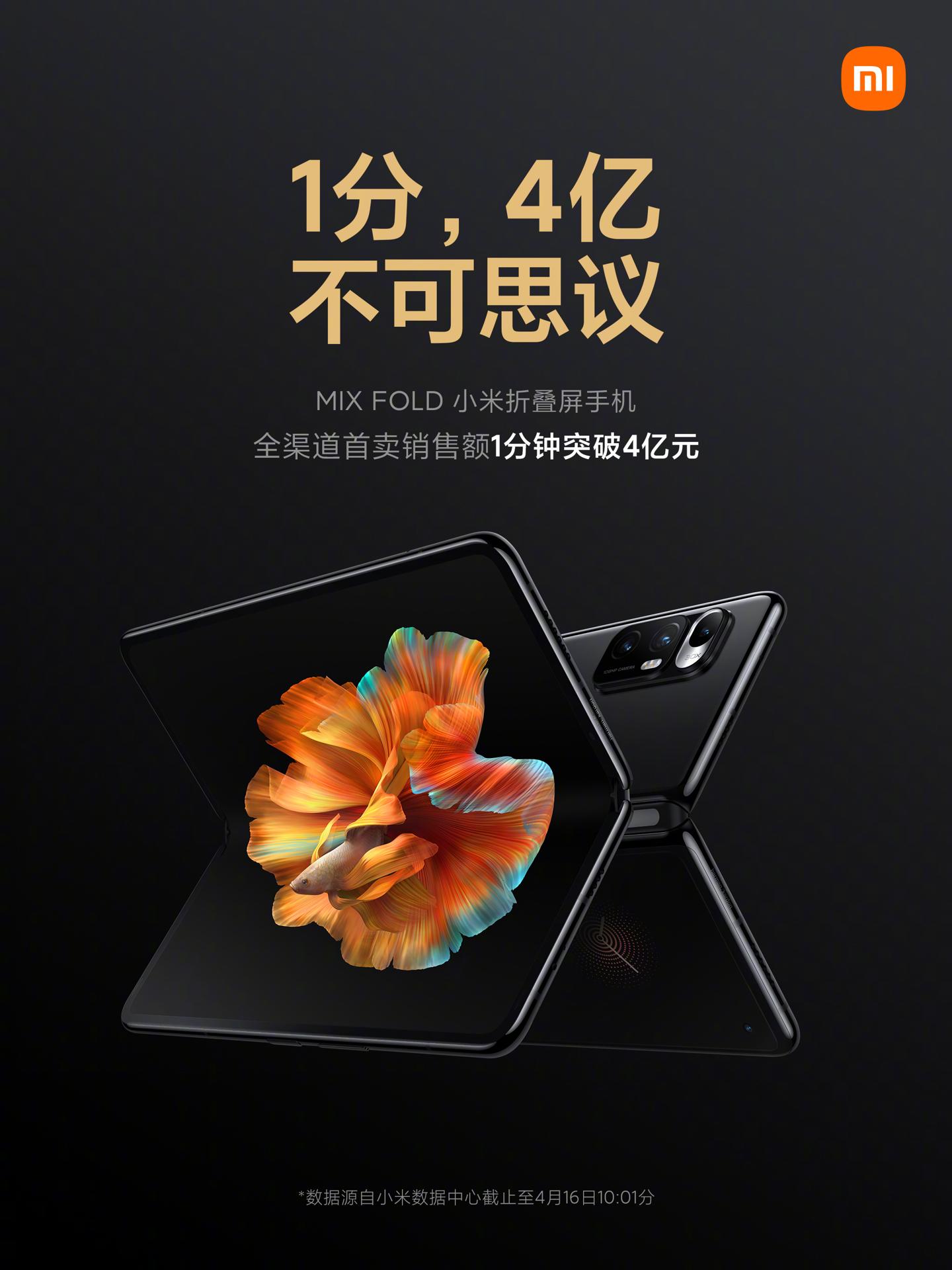 Las ventas del Xiaomi Mi Mix Fold alcanzan unas cifras millonarias en solo un minuto. Noticias Xiaomi Adictos