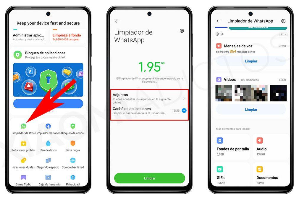 Cómo utilizar el limpiador de WhatsApp que integra tu Xiaomi para liberar almacenamiento. Noticias Xiaomi Adictos