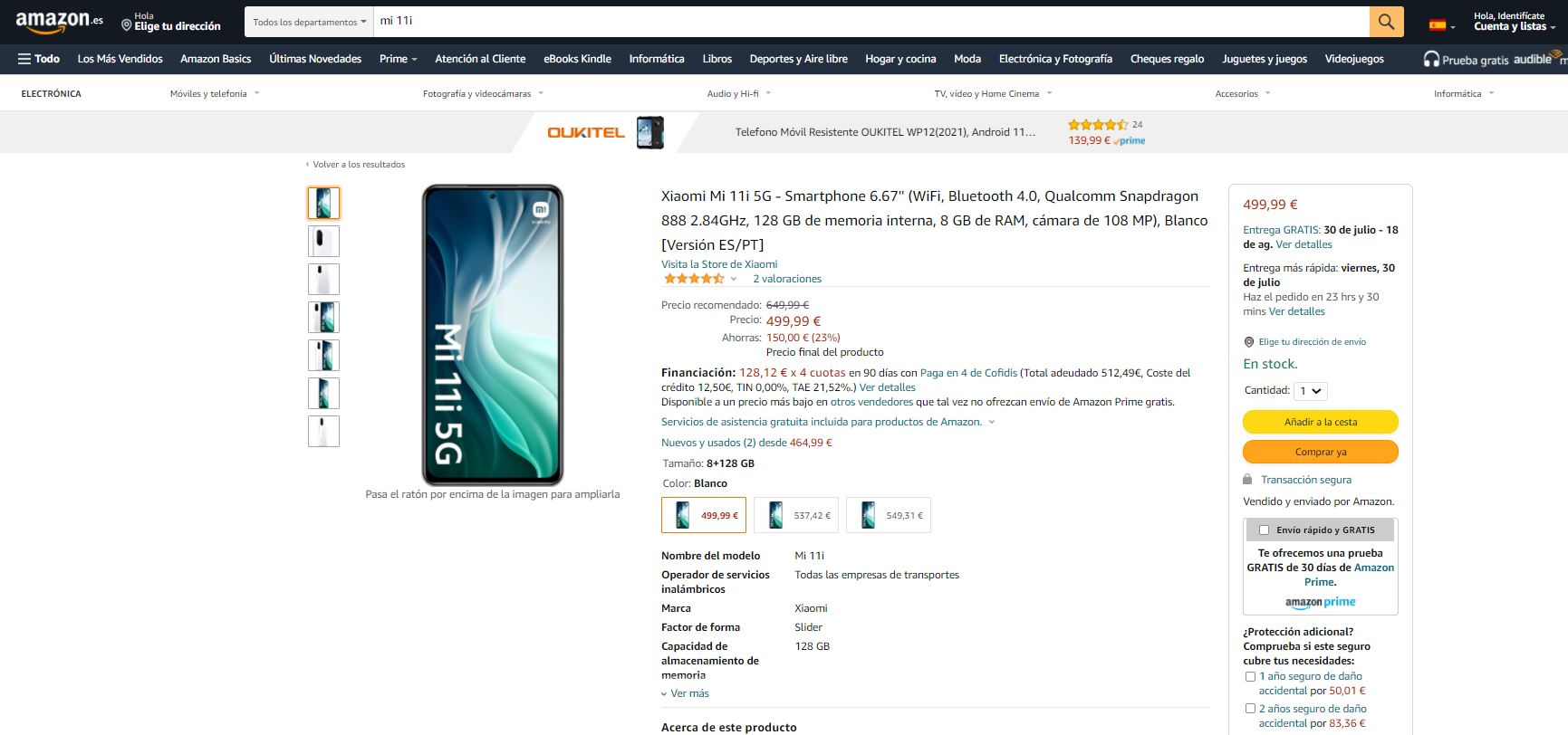 El Xiaomi Mi 11i se desploma por debajo de los 500 euros en Amazon. Noticias Xiaomi Adictos