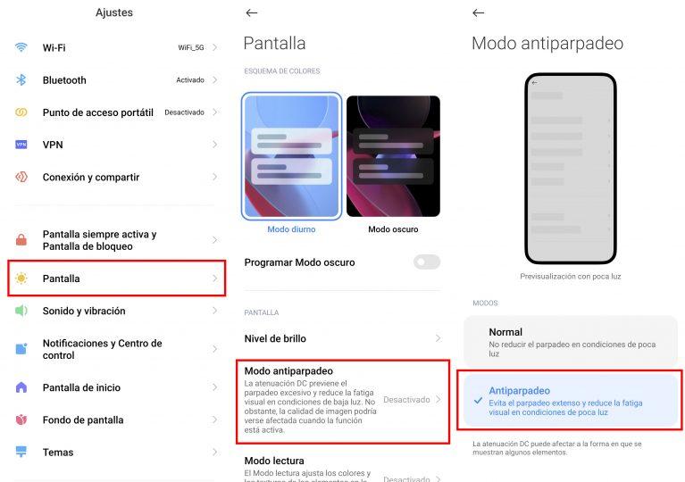 Qué es el modo antiparpadeo y por qué deberías activarlo en tu Xiaomi. Noticias Xiaomi Adictos